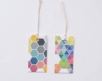 Gift Tags With String, Set of 12 Geometric Gift Labels, Hang Tags