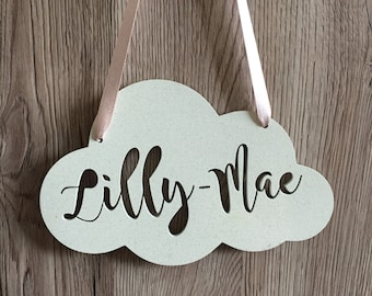 Personalised name cloud hanging decoration