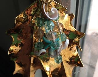 Gold Electroplated Holly Leaf Christmas Ornament with Mother of Pearls & Blue Starfish by Denise's Creations