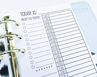 Printed Personal Size Day on One Page Planner Inserts {{90 DAYS}}