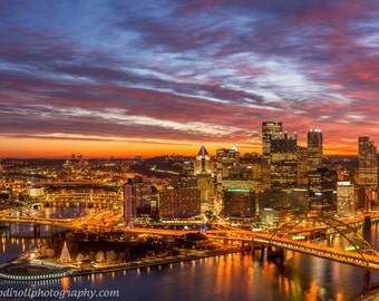 Confluence of Color Pittsburgh Skyline Mount Washington Sunrise, Matted or Metal Photo Print Photograph Picture