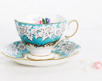 Royal Albert's 'Enchantment'  SMALL duo-teaset, fine bone china england aqua-blue and floral pattern, goldgilt rim