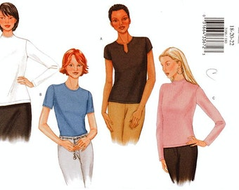 Butterick Top Pattern 3196 - Misses' Pullover Top in Four Variations - Sz 18/20/22