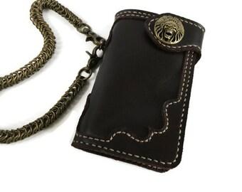 Men's leather chain wallet Skull men leather wallet bifold Dark brown rider wallet Biker wallet mens leather Biker wallet chain hand stitch