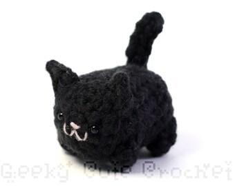 Black Kitty Cat Yami Amigurumi Plush Toy Crochet Stuffed Animal