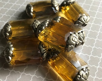 Amber Color Crystal Bead, Crystal Beads, Faceted Crystal Beads, Large Crystal Bead, Crystal, Clear Crystal