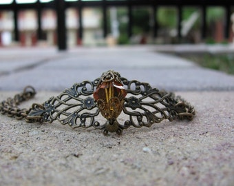 Brass Filigree Bracelet Topaz Swarovski Crystal Double Chain