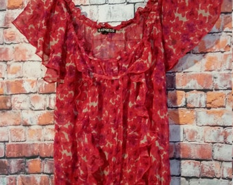 80's women's Red Floral Top Blouse Express, Size S