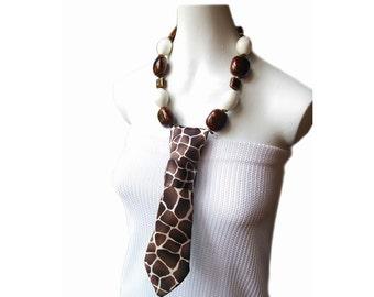 ZOHMALY Necktie necklace giraffe pattern tribal necklace women's necktie feminine fashion accessory modern necktie ladies neckties