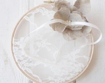 "Ring pillow rustic wedding chic romantic lace original ""Appoline"" linen flower"