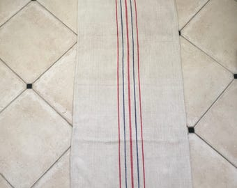 ICNS102 Blue  and Red Stripe Twill Natural  Vintage Linen Grainsack