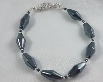 Hematite and Sterling Silver Bracelet W/Vintage Beads