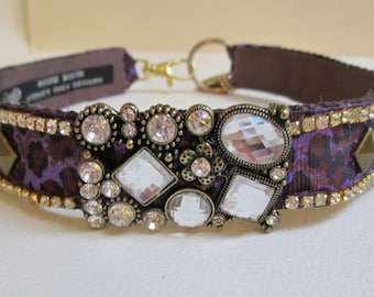 18 1/2 Inch Pet Dog Collar Necklace Jewelry Purple Spotted Rhinestone Studded