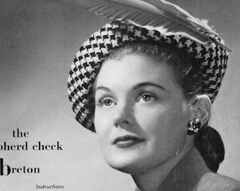 Women's Knitted Shepherd Check Breton Pattern PDF Instant download / Houndstooth cap / Knitted Breton Hat Pattern / Hound's tooth hat