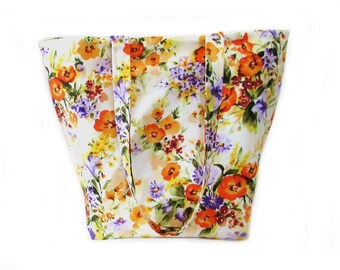 Floral Tote Bag, Cloth Purse, Handmade Handbag, White Fabric Bag, Shoulder Bag, Orange, Purple, Yellow, Flowers