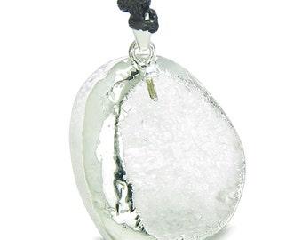 Unique Half Rough Polished Crystal Quartz Magic Powers Pendant Necklace