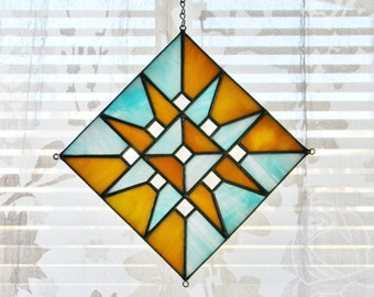 Geometric Stained Glass Suncatcher in Turquoise and Tan - Made to Order