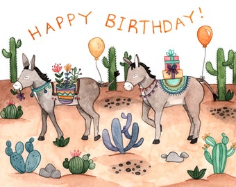 Donkey Desert Birthday Card