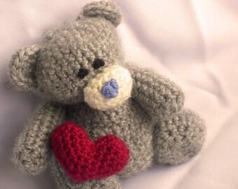 Teddy Bear with Heart Crochet Pattern, Teddy Bear Crochet Pattern, Amigurumi Teddy Bear Pattern, Teddy Bear Amigurumi Pattern Valentines Day