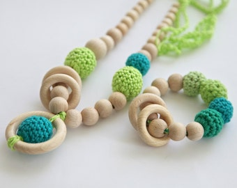 Set of 2. Shades of green. Nursing rings necklace and teething ring toy.