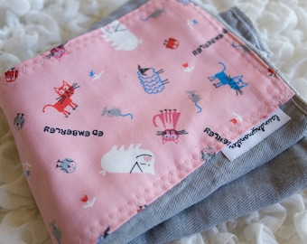 Baby burp cloth Ed Emberley cats gray and pink hand dyed burp cloth