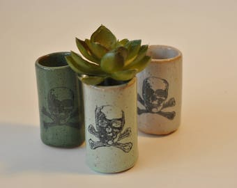 Succulent Tumbler, Shot Glass, Toothpick Holder, Q Tip Holder, Handmade Pottery, Skull & Crossbones, Pirate, Poison