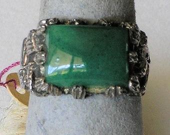 Jade Sterling Band Ring