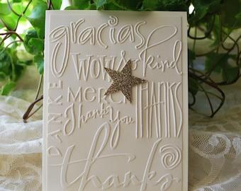 Handmade Greeting Card: Gracias Card, Thank You Card, Merci Card, Gold Star, Embossed Card