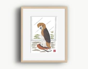 Beagle Print, Beagle Dog, Beagle Art, Beagle Gift, Beagle Illustration, Ready to Frame