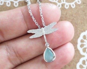Dragonfly - Silver Dragonfly with Mint Teardrop Necklace, Nature Woodland Wedding Jewelry, Bridal Bridesmaid Necklace, Garden Weddings