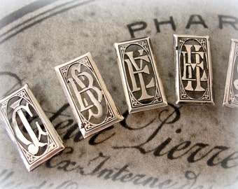eXquisite antique french monogram . RARE double monogram from fRance . silver plated rectangular shape your choice of monogram