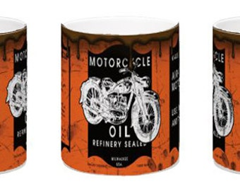 Harley Davidson inspired motorcycle oil can design for Sublimation.