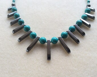 Turquoise and Hematite Crystal Bib Necklace, Gemstone VibrationalJewellery for Grounding, Master Communication and Protection, Pyrite