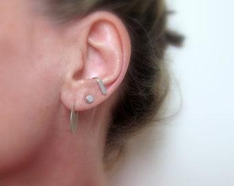 Suspender earring, Cuff earring, Sterling silver SINGLE ear suspender, Minimalist earring