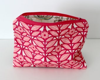 Pink Scandi Flowers/Sketchy Zipper Bag