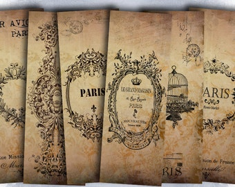 75% OFF SALE Vintage Paris - Digital bookmark B009 collage sheet printable download image size digital image paris collage vintage hang tags