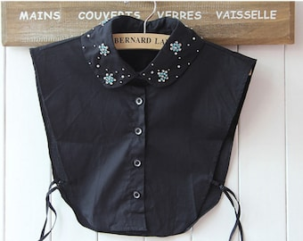 Detachable collar of black shirt and rhinestones REF 1822