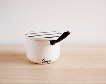 Ceramic sugar bowl with lid and spoon, Pottery sugar bowl, Sugar set, Ceramics & pottery, Minimalist ceramic, Scandinavian design Noe Marin