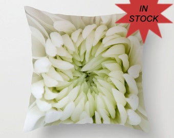 """Chrysanthemum Pillow Cover, 16"""" Throw pillow covers, Floral Photography Cushion Covers, Wedding Gift, Feminine Bedroom Victorian Decor"""