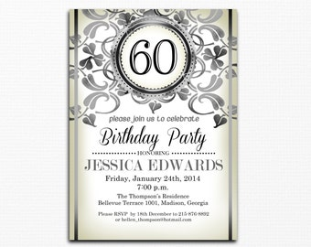 60th Birthday Invitation / 30th 40th 50th / Any Age / Elegant Silver & White Birthday Party Invitation / Digital Printable Invitation