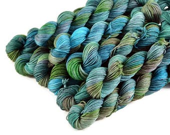 Mini Skeins, Hand Dyed Yarn, Sock Weight, Superwash Merino Wool Yarn, Knitting Yarn, Sock Yarn, Multi-colored, aqua, green - Bayou