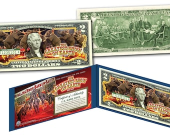 Ringling Bros. and Barnum & Bailey Circus Colorized Two Dollar Bill on Genuine US Currency