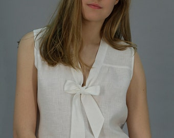 Linen White Blouse Sleeveless With Front Bow/ Linen Top With Tie/ Linen Shirt Eco Friendly