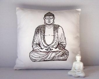 Buddha pillow, Buddha cushion, Home decor, Screen printed Buddha cushion, Yoga accesories, Yoga home decor, Cushion cover, Chill out pillow