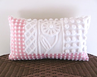 Pink pillow cover 12 X 20 MOONFLOWER white vintage chenille shabby style pink lumbar pillow cover cottage chic porch cushion cover