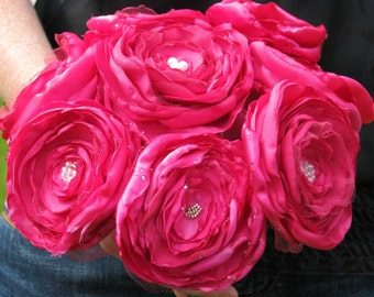 HOT PINK SATIN and tulle roses bouquet