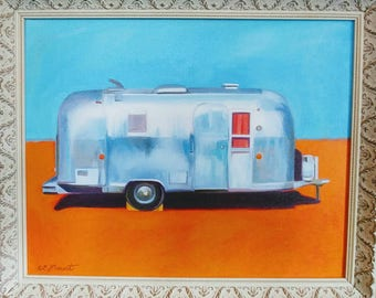 The Artist's Airstream, framed print. Signed and numbered.