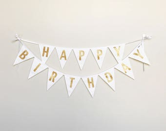 Happy Birthday Fabric Banner, Bunting, Garland - Gold, Silver, or Black Letters