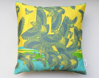 SALE Flock of birds pillow cover by original design, bright lemon yellow, dove grey, green grass, turquoise blue, size: 20x20' (49x49 cm)