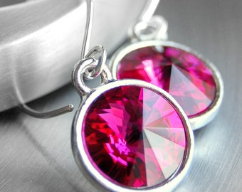 Hot Pink Crystal Earrings, Fuchsia Swarovski Crystal Rivoli Drops on Handmade Sterling Silver Earwires